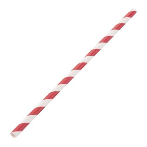 DE927 Fiesta Green Compostable Paper Straws Red Stripes (Pack of 250)